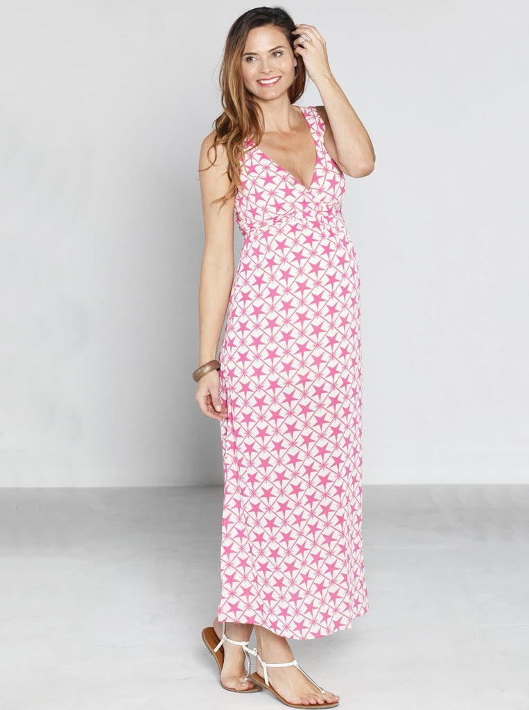 Maternity Party Maxi Dress - Pink Stars