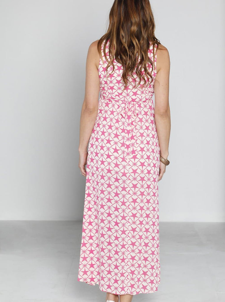 Angel Maternity Party Maxi Dress - Pink Stars