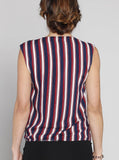 Angel Maternity Maternity Round Neck Top in Red and Blue Stripes