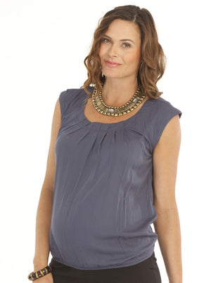 Maternity Maternity Round Neck Top - Grey Charcoal