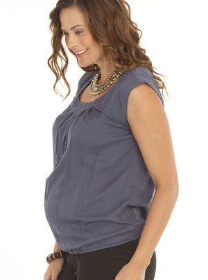 Angel Maternity Maternity Round Neck Top - Grey Charcoal