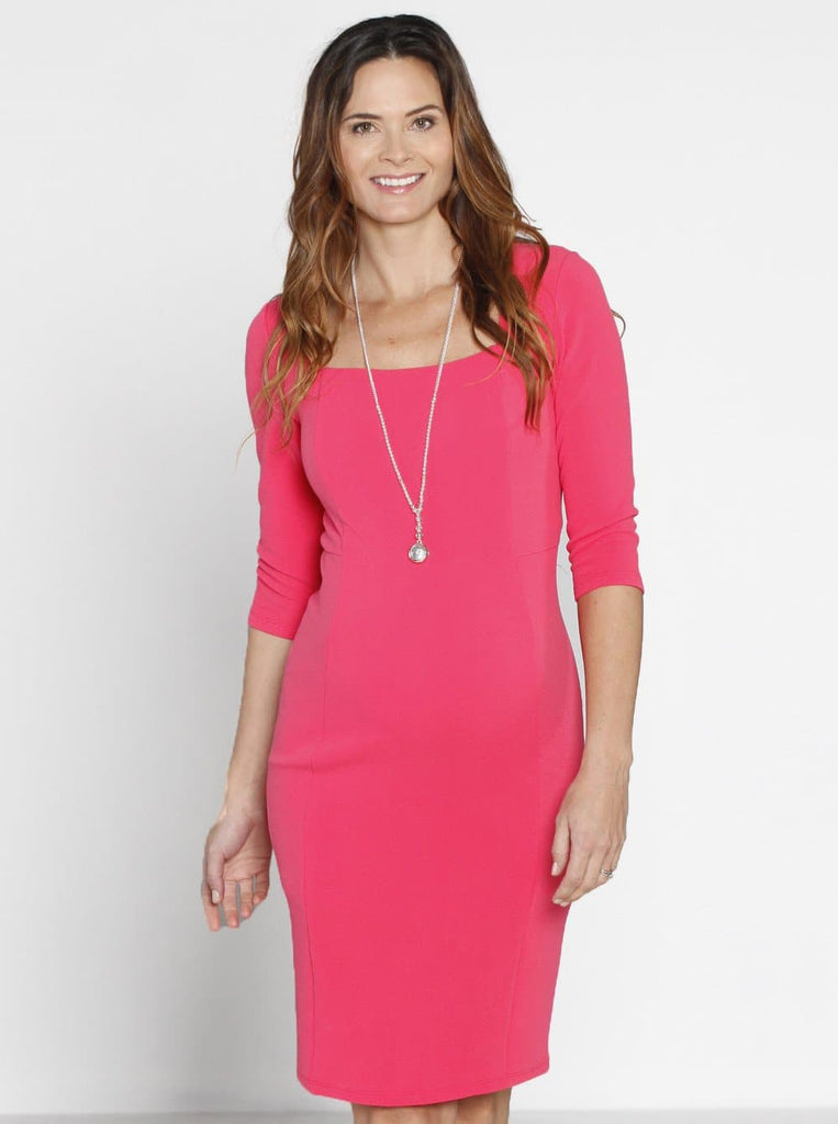 bb4fc8ccb435b Maternity Bodycon Fitted Textured Dress - Pink Rose - Angel Maternity - Maternity  clothes - shop ...