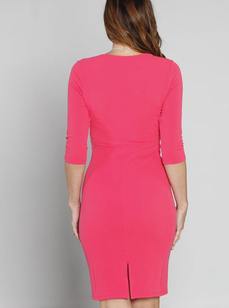 de8aac2b98256 ... Maternity Bodycon Fitted Textured Dress - Pink Rose - Angel Maternity - Maternity  clothes - shop ...