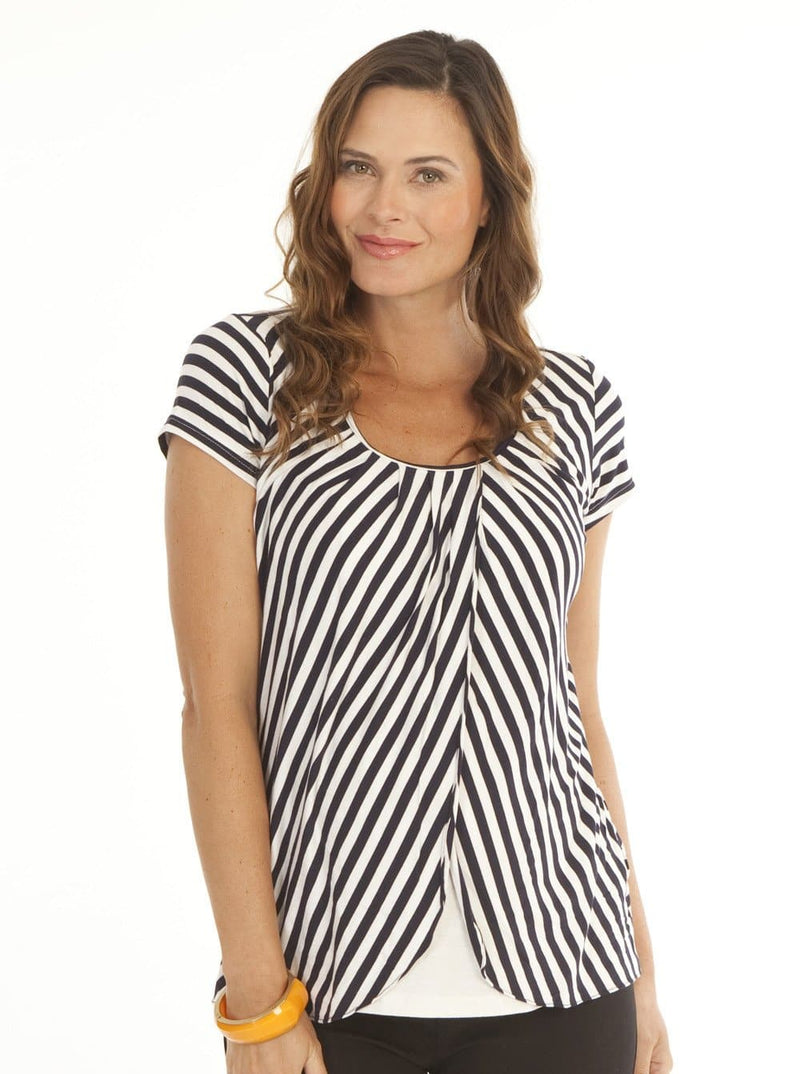 Breastfeeding Petal Front Short Sleeve Nursing Top - Black Stripes - Angel Maternity - Maternity clothes - shop online