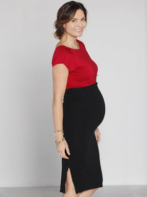 Angel Maternity Textured Fitted High Waist Maternity Skirt in Black