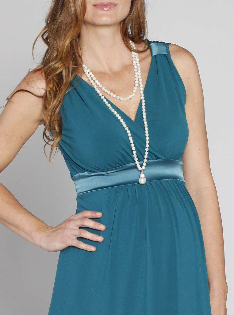 "Angel Maternity ""Sue"" Maternity Evening Dress in Teal Green"