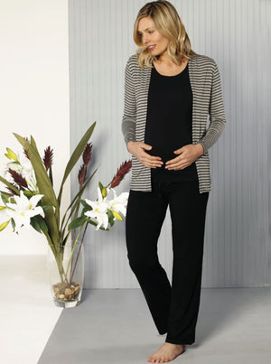 Maternity Soft Modal Open Front Cardigan - Black Stripes