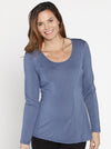 Maternity Round Neck Long Sleeve Blouse - Teal Blue