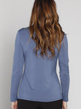 Angel Maternity Round Neck Long Sleeve Blouse - Teal Blue
