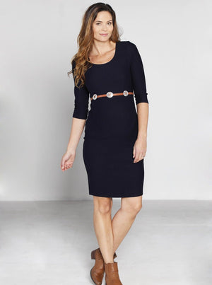Maternity Fitted Self Stripe Half Sleeve Work Dress - Navy - Angel Maternity - Maternity clothes - shop online