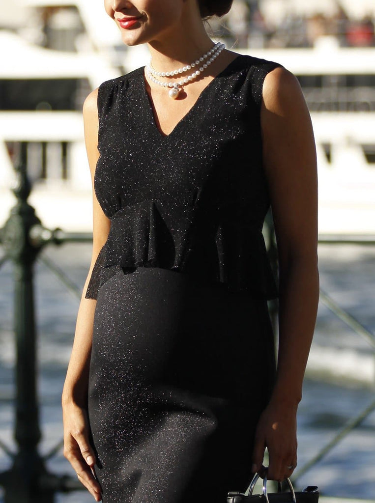 Angel Maternity Peplum V-Neck Sparkly Evening Dress - Black