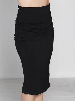 Angel Maternity Reversible Maternity Skirt in Black/ Stripes