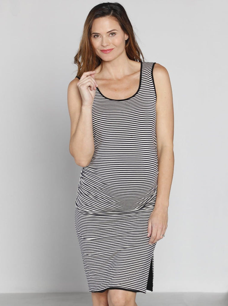 Angel Maternity Reversible Maternity Dress in Black/ Stripes