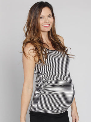 Angel Maternity Reversible Maternity Sleeveless Top in Black/ Stripes
