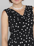 Angel Maternity Cowl Neckline Party Dress - Polka Dots