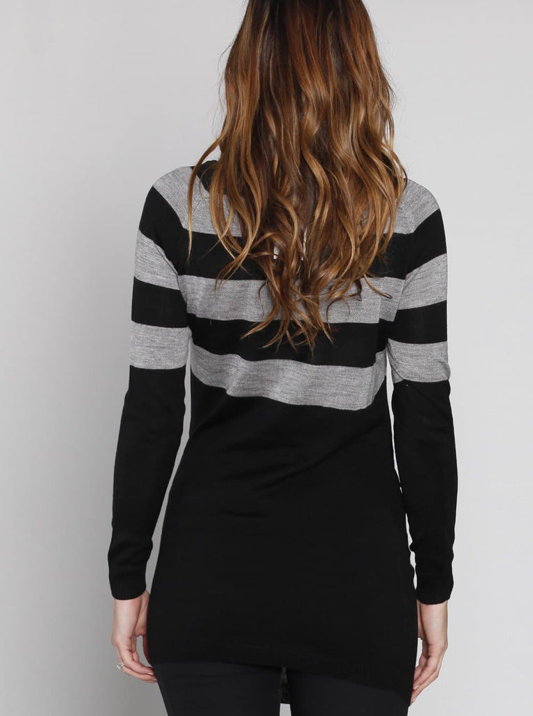 Maternity Knitted Tunic long top with Black & Grey Stripe - Angel Maternity - Maternity clothes - shop online