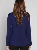 Angel Maternity Long Sleeve Zip Front Work Blouse in Navy