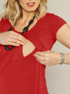 Breast Feeding Petal Front Short Sleeve Nursing Top - Tangerine Red - Angel Maternity - Maternity clothes - shop online