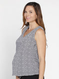 Angel Maternity Soft Sleeveless Dressy Top - Black & White Print