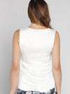 Angel Maternity Sleeveless Pure Silk Dressy Top - White
