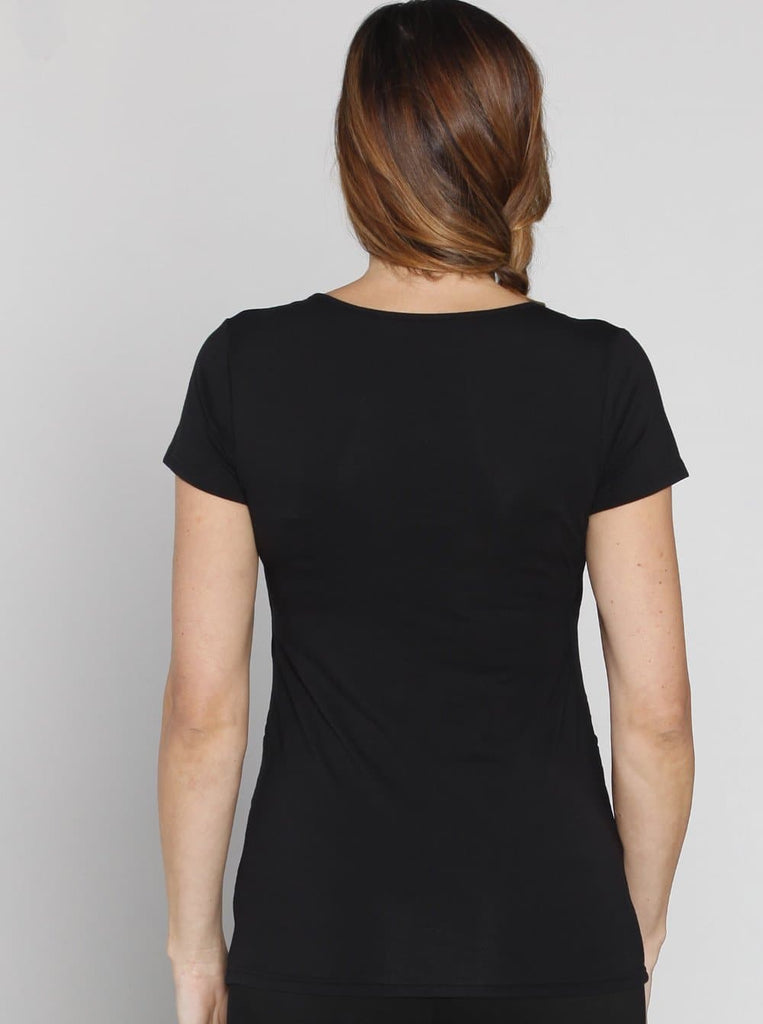 Angel Maternity Maternity Basic Nursing Tee - Black back