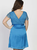 Angel Maternity Emily Maternity Mid Length Lace Party Dress - Teal