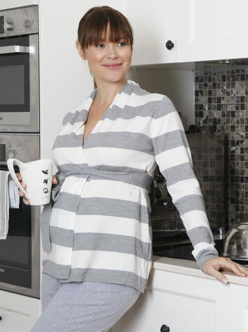 Maternity Knitted Tunic long top with Black & Grey Stripe