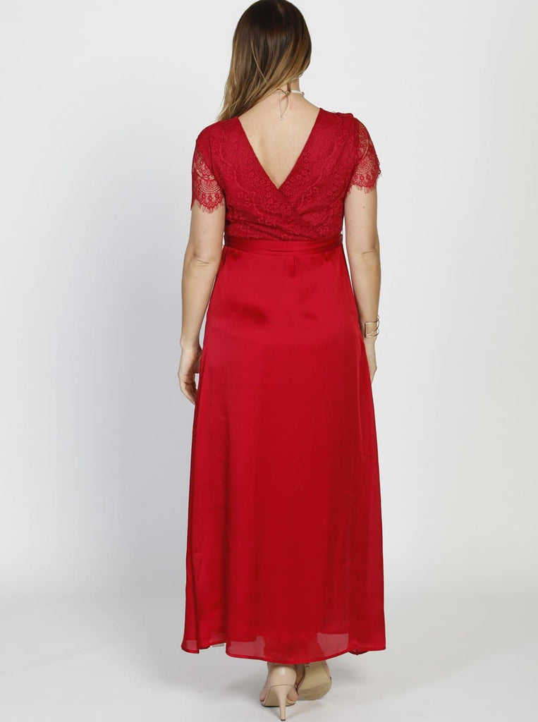 Maternity Formal Party Lace Dress - Red - Angel Maternity - Maternity clothes - shop online