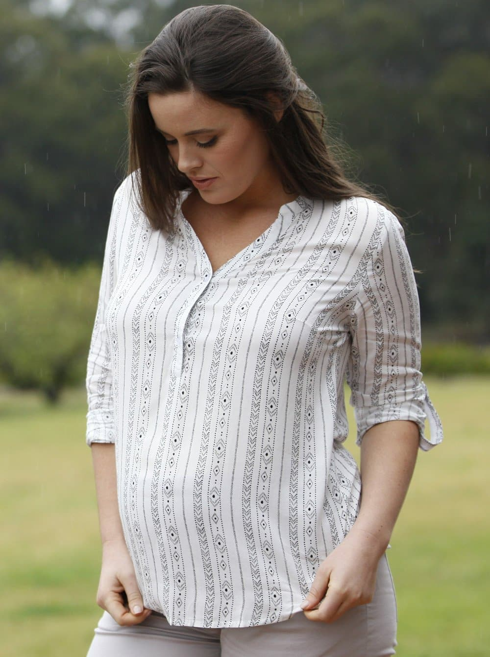 Angel Maternity Roll Up Long Sleeve Maternity Shirt - Vertical Print