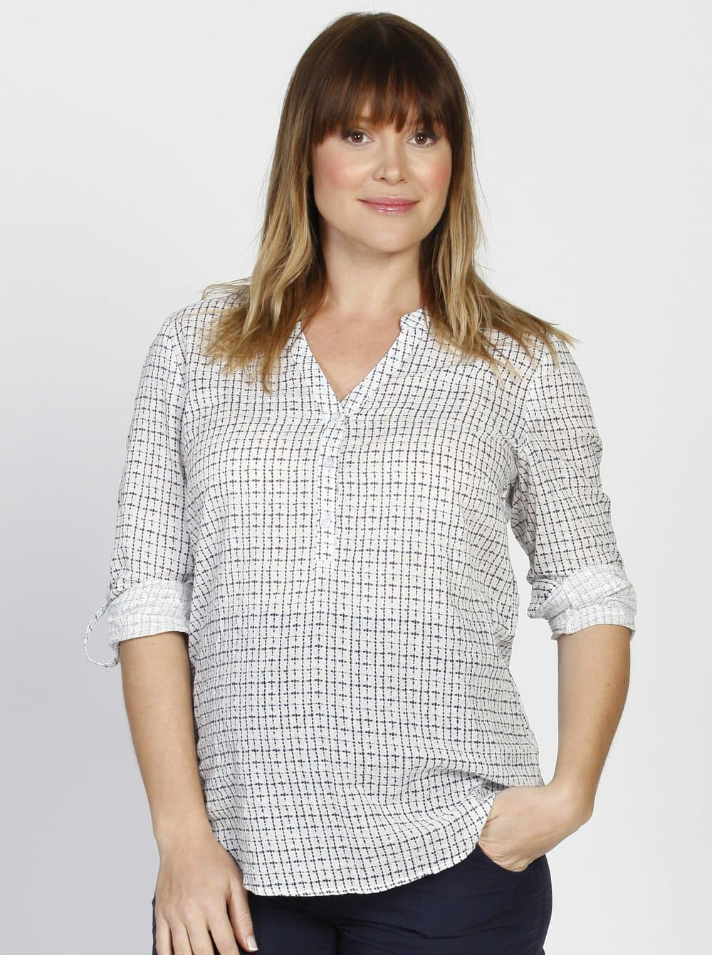 Roll Up Long Sleeve Maternity Shirt - Checker Print