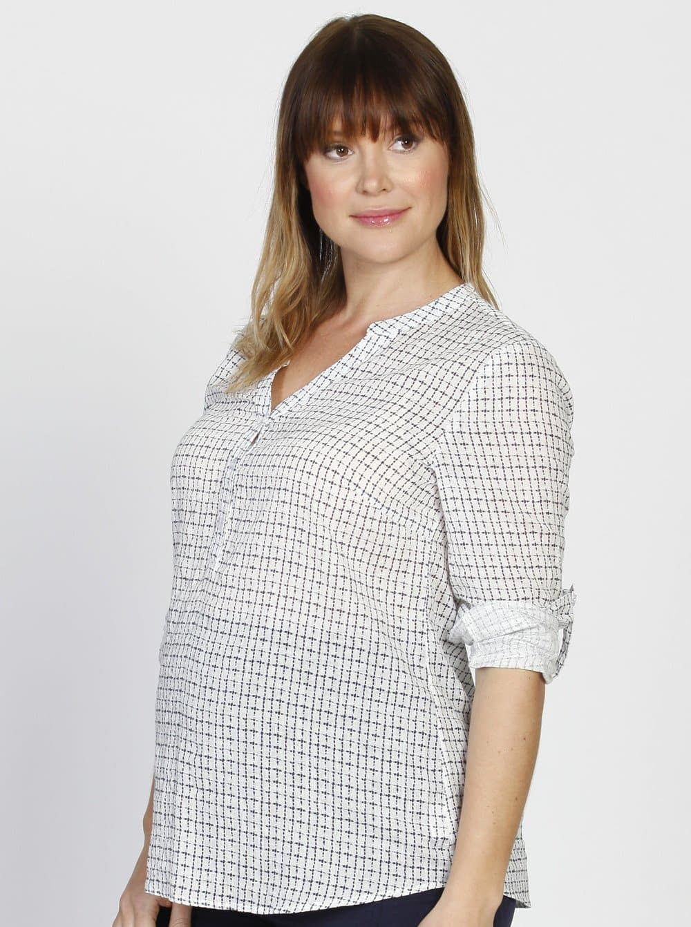 Angel Maternity Roll Up Long Sleeve Maternity Shirt - Checker Print
