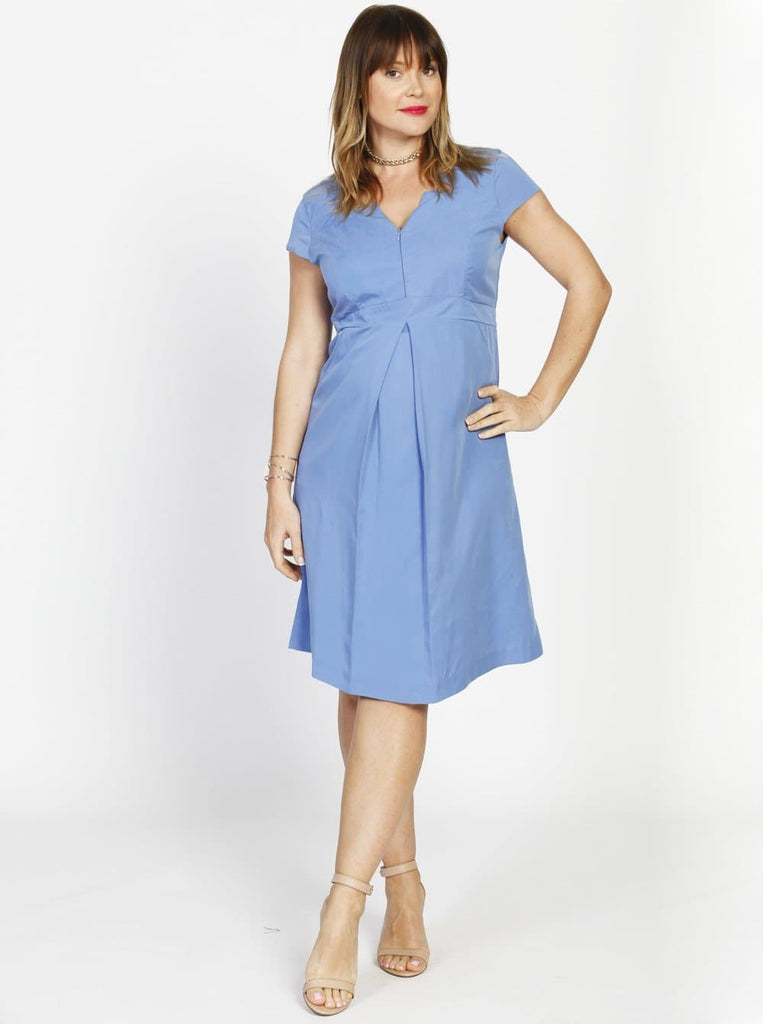 Breastfeeding Zipper Front Short Sleeve Tencel Nursing Dress - Blue