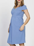 Angel Maternity Zipper Front Short Sleeve Tencel Nursing Dress - Blue