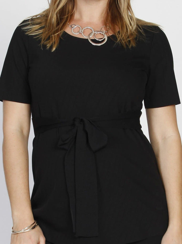 Angel Maternity Short Sleeve Work Top with Tie Waist - Black
