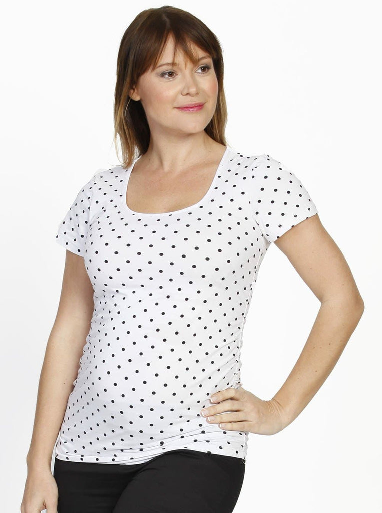 Maternity Short Sleeve Tee with Side Gathers