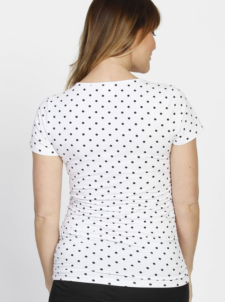 Angel Maternity Short Sleeve Tee with Side Gathers in White & Black Dots