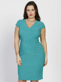 Angel Maternity Short Sleeve Zipper Nursing Party Dress - Teal Jade