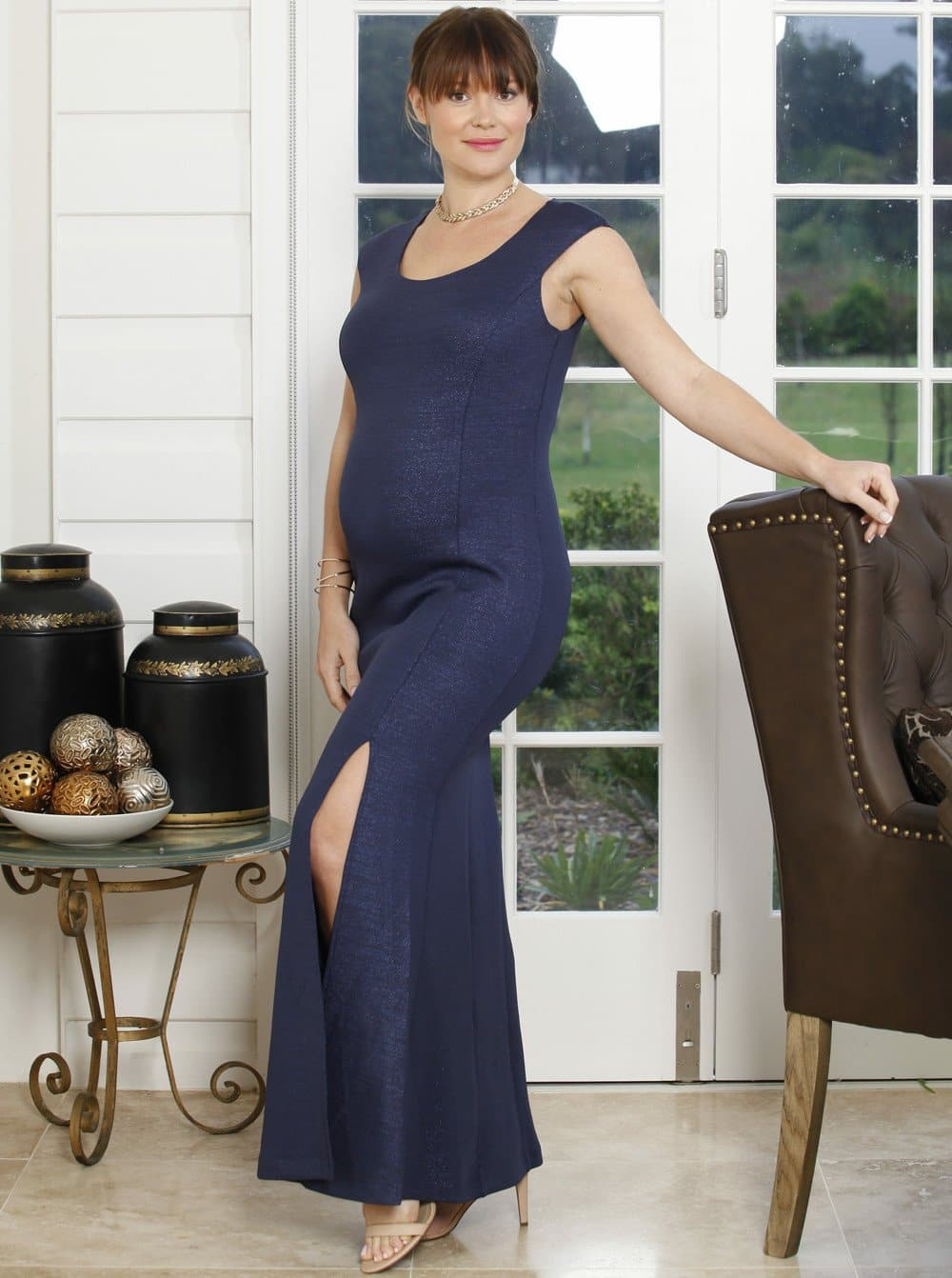 Dress To Impress Formal Maxi Party Glamour Formal Gown - Navy Blue - Angel Maternity - Maternity clothes - shop online