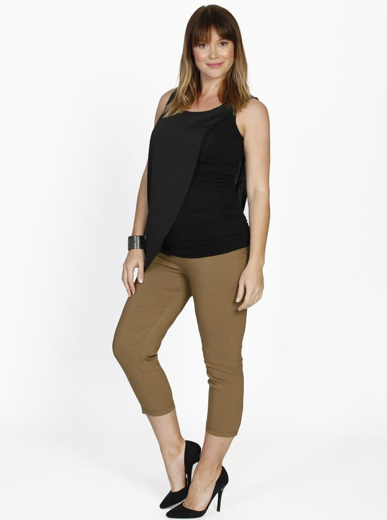 Angel Maternity Cropped Stretchy Maternity Pants in Brown