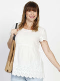 Maternity Relax Fit Summer Cotton Smock Top - White
