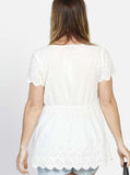 Angel Maternity Relax Fit Summer Cotton Smock Top - White