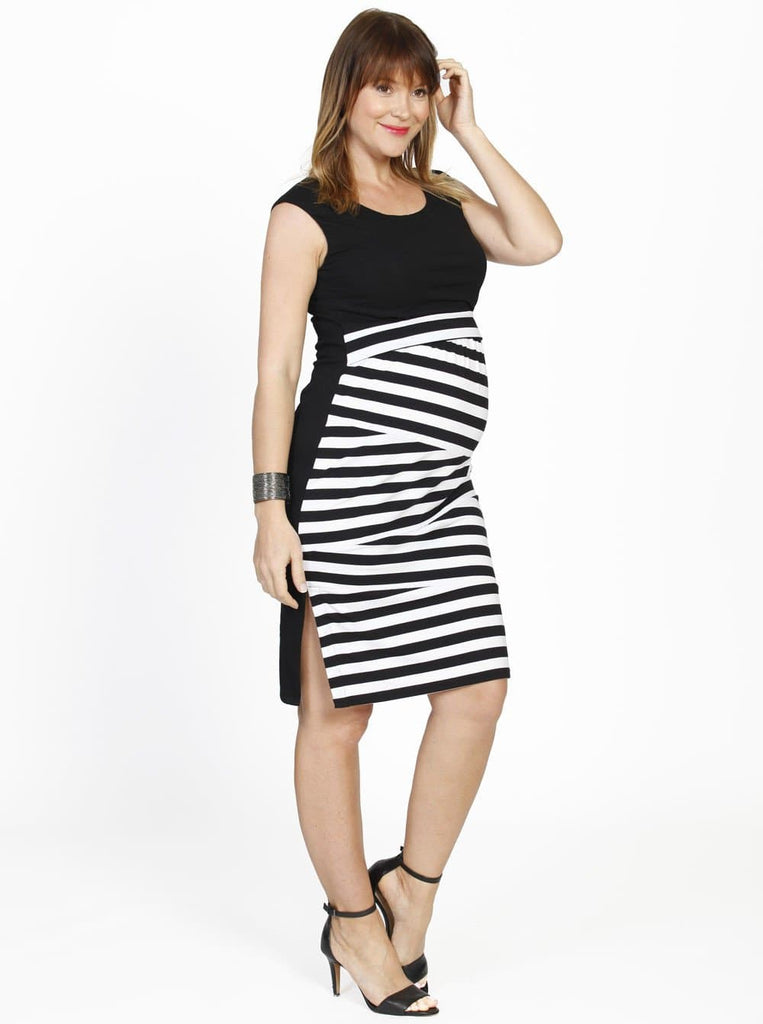 Breastfeeding Busy Mummy Zigzag Nursing Fitted Dress