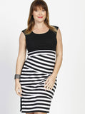 Angel Maternity Busy Mummy Zigzag Nursing Fitted Dress in Black Stripes
