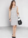 Angel Maternity Sleeveless Summer Fitted Pencil Dress - Black & White Stripes