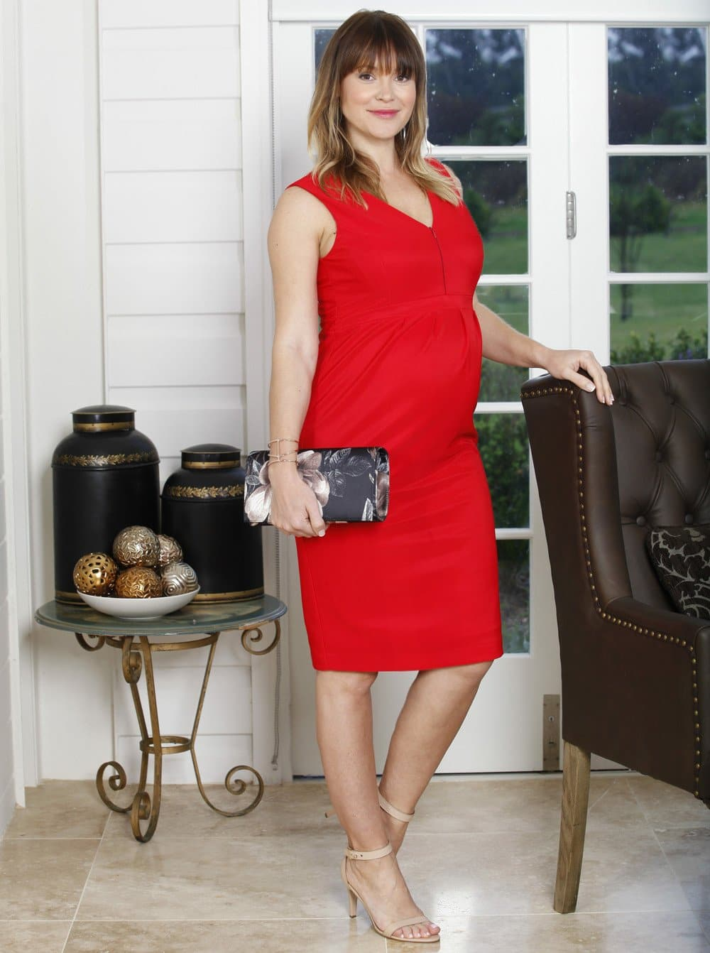Maternity Party Nursing Dress - Lady in Red