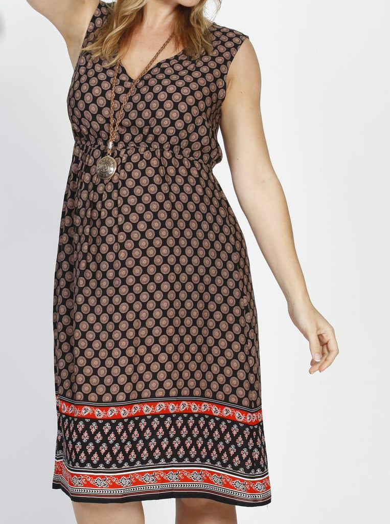 Angel Maternity V-Neck Chiffon Sleeveless Dress in Brown Spots