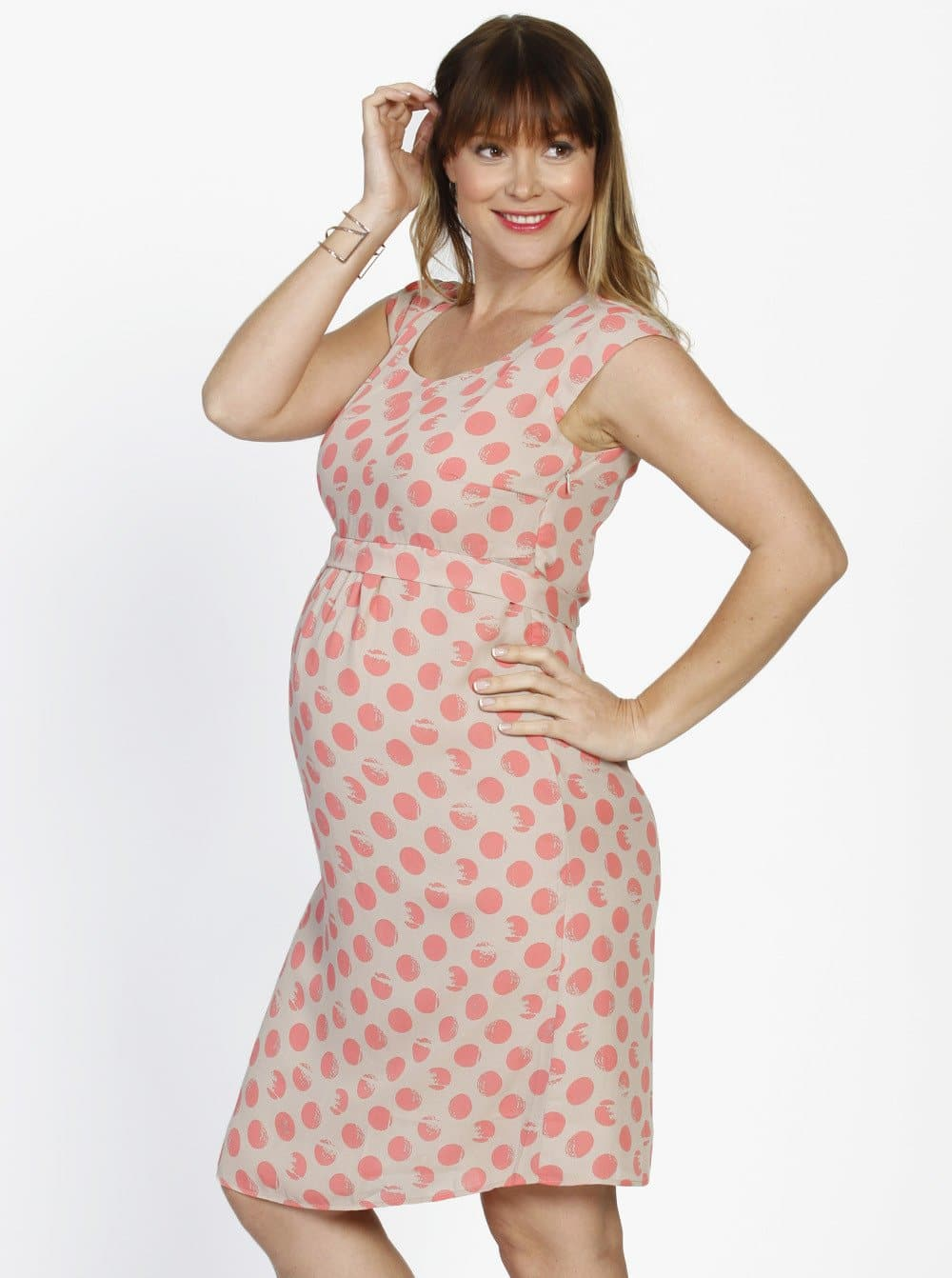 Angel Maternity Tie Back Cap Sleeve Dress - Spots