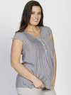 Breastfeeding Button Front Loose Fit Top - Dark Brown Rice Spots - Angel Maternity - Maternity clothes - shop online