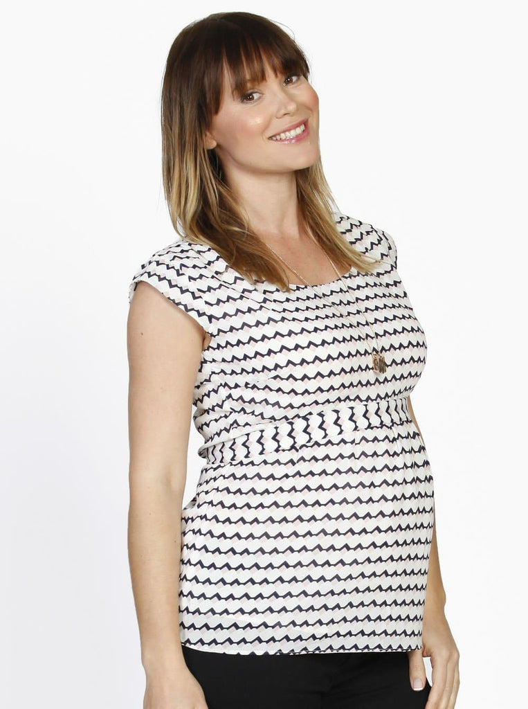 Maternity Tie Back Dressy Top w/ Back Zipper - Pink Diamond Print