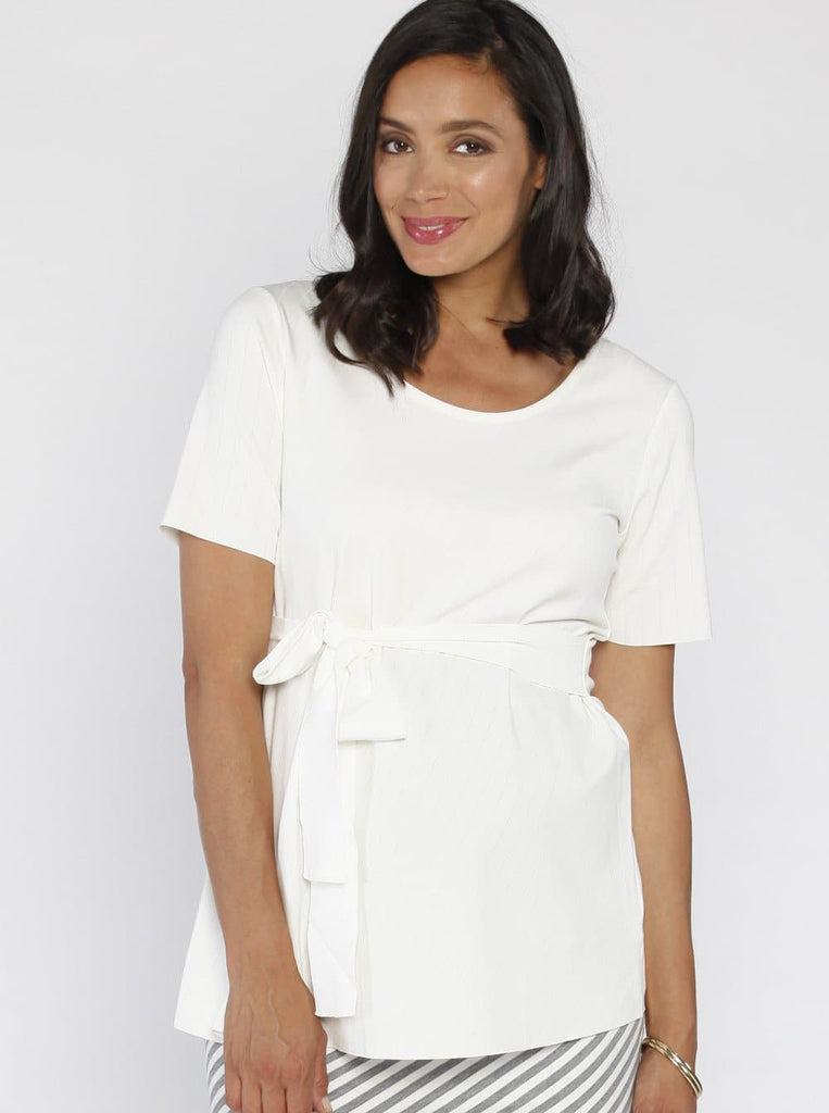 Angel Maternity Short Sleeve Work Top with Tie Waist - Off White